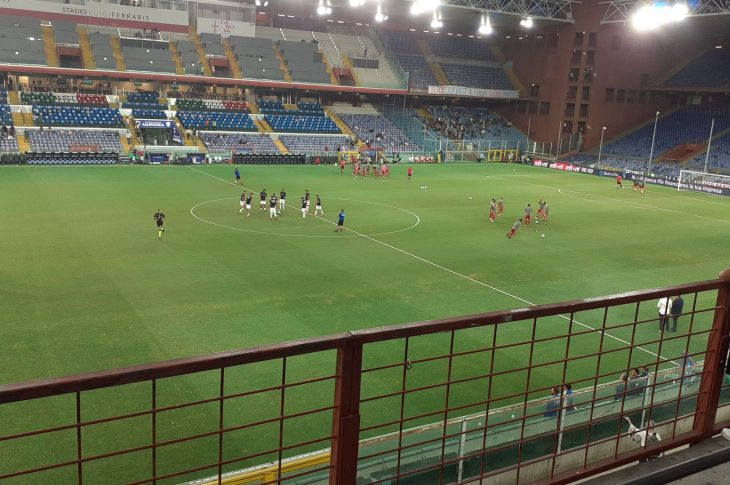Il riscaldamento prima di Sampdoria-Alessandria